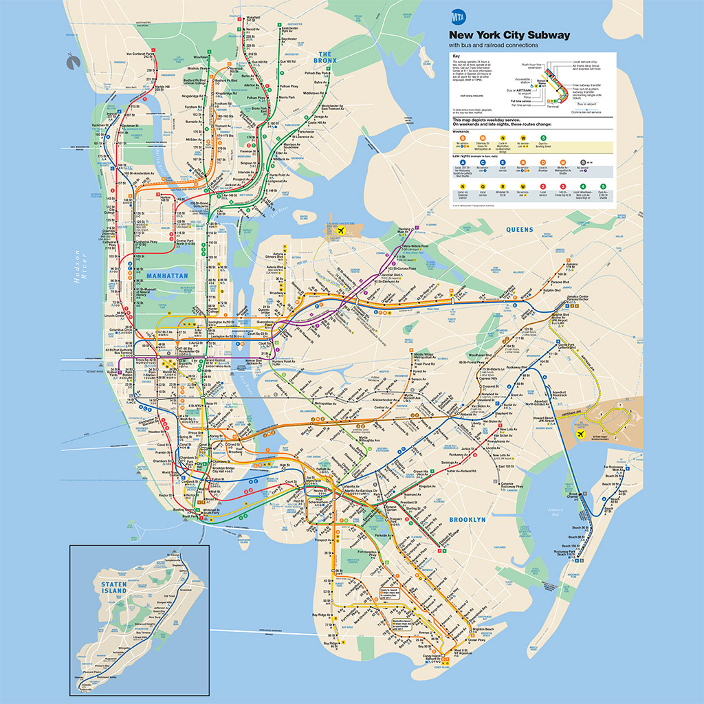 Subway New York Map NYC Subway Guide   Subway Map, Lines and Services